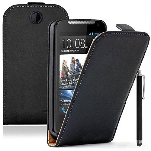VCOMP® Housse Coque Etui Cuir PU Vrai pour HTC Desire 310 + Stylet - Noir