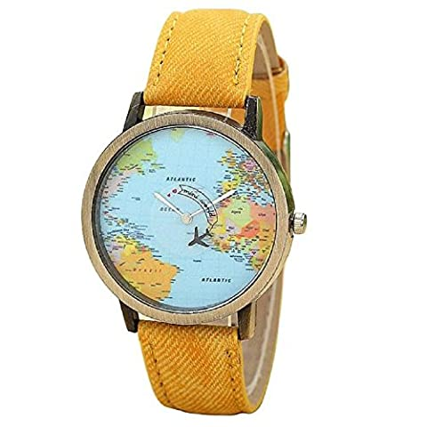 ZycShang New Global Travel By Plane Map Watch Denim Fabric Band Yellow