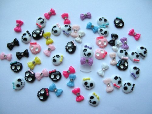 Nail Art 3d 55 Piece Mix Skull & Bow/Rhinestone for Nails, Cellphones 1.1cm by 3d nail art