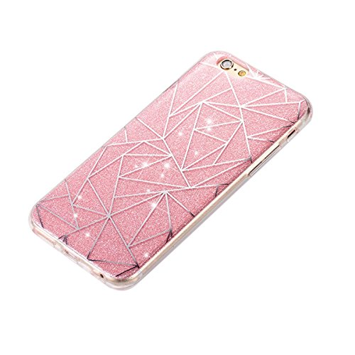 iPhone 7 Bling Coque,iPhone 7 Case,iPhone 7 Etui - Felfy Ultra Mince Silicone Gel TPU Housse Bling Shiny Sparkle Glitter étoile Placage Coque Housse de Protection Etui Anti Scratch Case Cover Case Bum losange Rose