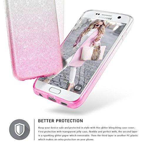 Bling Bling Samsung Galaxy S6 Hülle, TheBlingZ.® Bling Bling Strass Glitzer TPU Hybrid Schutzhülle für Samsung Galaxy S6 - Gold Pink Shading