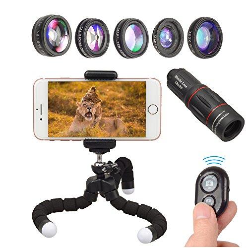 Apexel 8 en 1 teléfono lente de la cámara Kit 18X teleobjetivo lente zoom gran angular + macro lente + ojo de pez + caleidoscopio 6 lente + filtro estrella para iPhone X / 8 7 Plus / 6S Samsung Galaxy S8 S7 Huawei y la mayoría de los trípodes Android Smartphone obturador