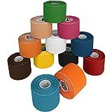 12 rollos Kinesiologia 5 m x 5,0 cm Sporttape en 11 colores, Color:mixt