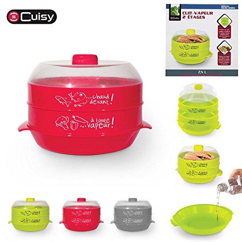 Cuisy Mikrowellen-Dampfgarer mit 2Etagen, 2,4Liter, für Gemüse, Obst, Fisch oder Fleisch