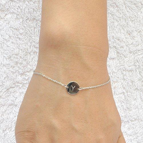 Huan Xun en acier inoxydable gravé Bracelet Initiale réglable, 20cm Y