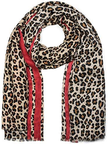 styleBREAKER Damen Schal mit Leo Muster, farbigem Streifen und Fransen, Tuch 01017082, Farbe:Braun-Rot