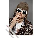Poster + Hanger: Kurt Cobain Poster (91x61 cm) Colour Inklusive Ein Paar 1art1® Posterleisten, Transparent
