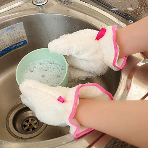 TAOtTAO - Guantes antiadherentes para lavar platos de aceite, cepillo de cocina, cuenco impermeable, guantes