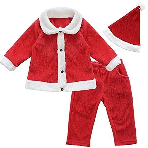 TiaoBug Garçons Costume Claus Père Noël Tops + Pantalons + Chapeau Vêtements Tenues Pour Enfants 6 Mois-3 Ans (2-3 Ans, Rouge)