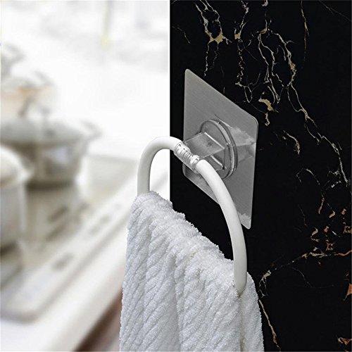 Inchant Non-Track Selbstklebende Bad Küche Handtuchhalter Ring, Restickable & waschbar Geschirrtuch/Geschirrtuch Kleiderbügel Rack, Kunststoff, weiß -