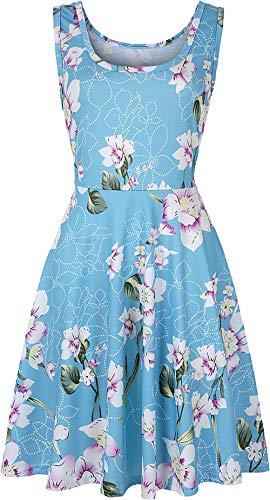 SEMIR Damen 1950er Boho Vintage Cocktailkleid Rockabilly Retro Schwingen Kleid Faltenrock Blau XXL (Die 80er Jahre Kleider Für Damen)
