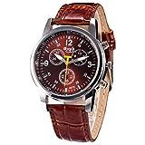 OdeJoy Luxus Mode KrokodilFaux Leder Herren Analog Uhr Simple HandgelenkUhren Freizeit Geschäft Uhr Leder Gürtel Uhren Klassik PU Leder Legierungsband Herrenuhren (Braun,1 PC)