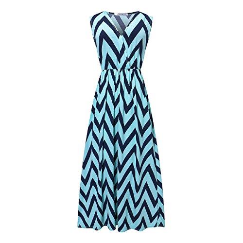 Sommerkleid Damen Maxikleid Strandkleider Damen Lang Partykleid Maxi Kleider mit Zackenmuster Elegant