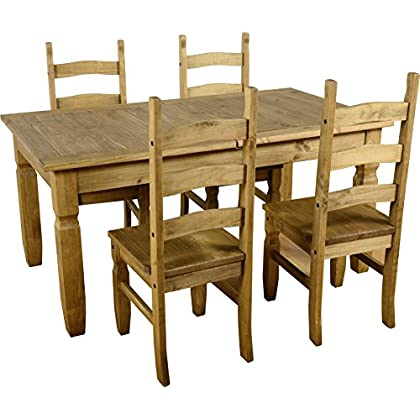 Seconique Corona Extending Dining Set (1+4), Distressed Waxed Pine, 539.95 x 1079.95 x 119.95 cm