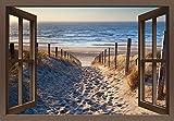 Artland Qualitätsbilder I Bild auf Leinwand Leinwandbilder Wandbilder 100 x 70 cm Landschaften Strand Foto Creme C3JN Weg Nordseestrand Sonnenuntergang
