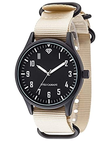 Yves Camani Unisex Unisson Quartz Watch with Black Dial Analogue Display and Multicolour Nylon Bracelet (Riserva Orologio Di Lusso)