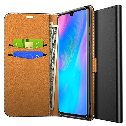 Yocktec Hülle für Huawei P30 Pro 2019, Ultra Slim Premium PU Leder Flip Wallet Tasche mit Kartenfach und Ständer für Huawei P30 Pro 2019 Smartphone (Schwarz)