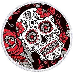 DXSX La Moda Calavera Toalla de Playa de Microfibra Grande Redonda Mantel de Flecos Patrón de Rosa Manta de Picnic Cubierta de Cama Secado Rapido Absorción de Agua 150 * 150cm (cráneo #5)