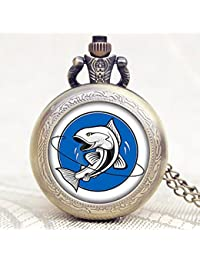 2016 New Arrival Fishing Design Glass Dome Case Quartz Pocket Watch With Necklace Chain