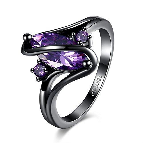 Frauen 18K Schwarze Gold Gepanzerte Kubik- Zirkonoxid-Kristalle Zirkonia Diamant Verlobungsringe Beste Versprechungsringe Hochzeit-Jubiläumsfeiersringe für das Damenmädchen, JPR868-Purple-8-UK (Preiswerte Diamant-ringe)