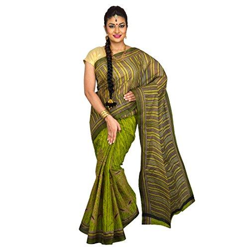 Pavecha's Mangalagiri Polycotton Printed Saree - Suhag Half N Half Green MK1689  available at amazon for Rs.299
