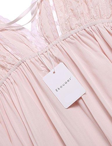 Ekouaer Damen Nachthemd Sleepwear Tiefer V-Ausschnitt Langarm Rückenfrei Nachtkleid Blumenspitze Patchwork Nachtwäsche Schwarz/Weiß/Rosa((S-XXL) Rosa