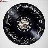 Chaud Seigneur des Anneaux Thème Noir CD Record Horloge À La Main Vinyle 3D Horloge Murale Magique Autocollant Décoration de La Maison, 6Gift Décoratif Vinyle Record Horloge Murale pour Noël