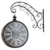 85b94b3ffba6 elbmöbel – Reloj de Pared Metal marrón Vintage Retro Reloj Reloj de Estación  de Tren Diseño Vintage Envejecido.