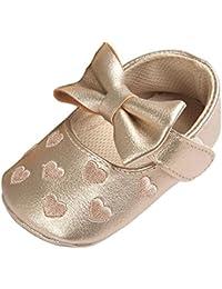 Blaward Scarpe Neonato in Morbida Pelle Stivaletti bebé Primi Passi Scarpe Neonata Ballerine Pantofole Morbide Bimba con Bowknot