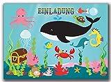 Einladungskarten Kindergeburtstag Fische mit Unterwasserwelt Jungen Mädchen - 8 Stück Wal Wale Schatztruhe Krabbe Krebs Tintenfisch Delfin Seepferdchen Schwimmbad Poolparty schwimmen Wal