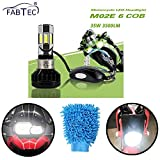 #4: FABTEC Universal RTD Waterproof Bike LED Headlight with Cooling Fan for All Bikes & Microfiber Dusting Glove Combo! (12V/35W)
