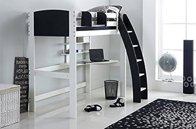 Scallywag Kids High Sleeper Bed - White/Black - Curved Ladder - Integral Desk & Shelves. Made In The UK.
