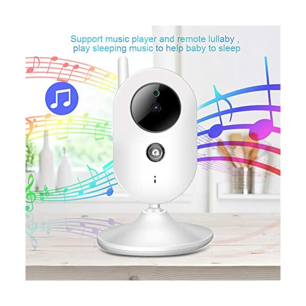 """SONEW Wireless Video Baby Monitor,3.5"""" LCD Digital Screen for Signal Transmission Support Night Vision Two-Way Talk Temperature Sensor Voice Activation Lullabies Multi-Language Sonew 【TEMPERATURE SENSOR】Constantly monitors the temperature in your baby's room and alerts you when it is too hot or too cold.When you find that the temperature of your baby's room is too high or too low, you can add a bedding or reduce the bedding to your baby in time to prevent your baby from getting sick due to temperature. 【TWO-WAY TALK】Built-in advanced microphone and speaker for clear two-way audio conversations. Not only can you see what's happening, but also send voice commands, and talk with your little one. Transmitting distance is up to 1,000 ft.Parents must hope to witness each stage of their child's growth. Talking is a very important stage. With this product, you can communicate with your baby at any time, hear your baby's voice, and witness your baby's growth. 【SOUND-ACTIVATED LED LIGHTS 】Allows you to see how much noise your baby is making in case he/she is crying.You must hope to stay with your baby all the time, but because of work or some other reason, you may not be able to stay with your baby all the time, but with this product, you can observe every detail of the baby, once the baby is crying You can find it by activating the LED light. 4"""