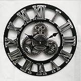 Mrzy Neue Große Wanduhr Vintage Gear Clock Amerikanischen Stil Wohnzimmer 3D Wanduhr Modernes Design Dekoration Für Zuhause Holz Uhren, A