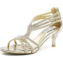 SHESOLE Damen Knöchel-Riemchen Sandalen Mitte Ferse Strass Riemchensandaletten Hochzeit Schuhe (Die Hälfte Größe größer)