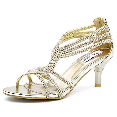 SheSole Womens Dance Wedding Shoes Gold UK 4