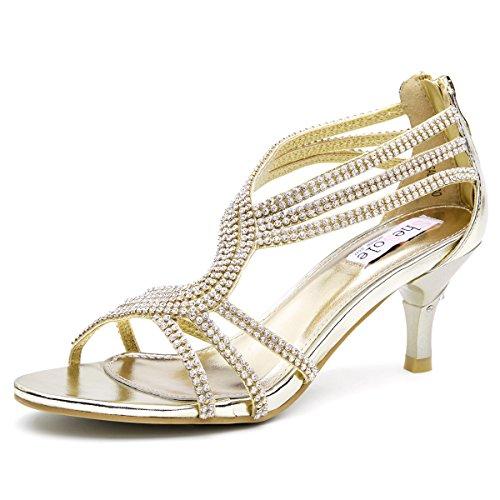 SheSole Damen Knöchel-Riemchen Sandalen Mitte Ferse Strass Riemchensandaletten Hochzeit Schuhe Gold 38 (Damen-gold-sandalen)