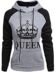 ZKOO Sweatshirt Sweat à Capuche Couple KING & QUEEN Impression Hoodies Pour Femme Homme Sport Hooded Sweat-shirt Pull Loisirs