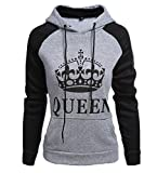 ZKOO Sweatshirt Sweat à Capuche Couple QUEEN Impression Hoodies Pour Femme Homme Sport Hooded Sweat-shirt Pull Loisirs