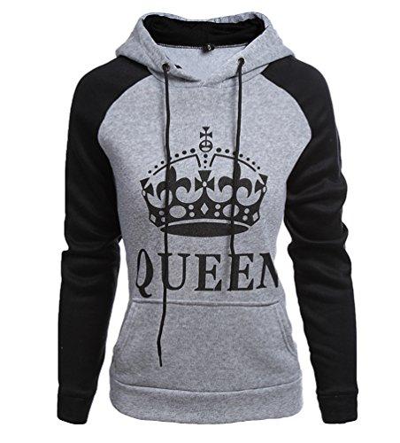 *ZKOO Mann & Frau Paar Hoodies King & Queen Krone Drucken Pärchen Pullover mit Kapuze Langarm Sweatshirt Kapuzenpulli Pärchen*