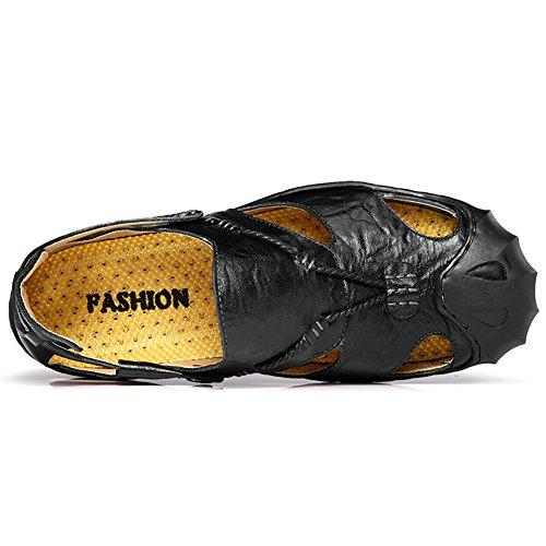 Sandalen Freizeit Leder Outdoor Schuhe Sandal Hausschuhe Schwarz Strand JEDVOO Pantolette Uomo Sommer Herren PWHqfz1