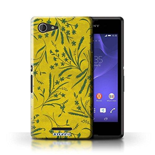 Kobalt® Imprimé Etui / Coque pour Sony Xperia E3 / Violet/Rose conception / Série Motif floral blé Jaune/Vert