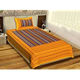 RajasthaniKart Classic 144 TC Cotton Single Bedsheet with Pillow Cover - Abstract, Yellow