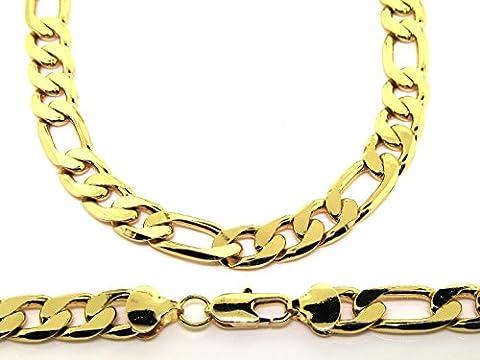 Men's Luxury 18K Gold Plated Figaro 12mm 24