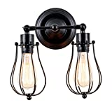 Specifications : These industrial metal wall sconces are hand made by factory. With the natural color of delicate light and metal wire shade.    Light material: Metal  Finish: Painted by Black  Wattage: 2*60W(Max)  Suitable Space: 10-15 Sq  Voltage:...