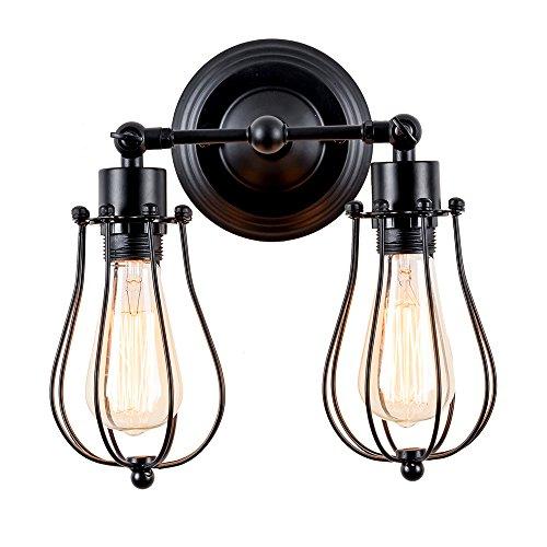 Wandlampe Retro Verstellbar Metall Wandlampe Antik Wandlampe Vintage Lampen Landhausstil für Landhaus Schlafzimmer Wohnzimmer Esstisch (Modern Schwarz)