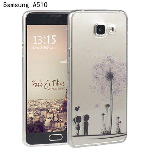 Galaxy A5(2016) Cover, Per Samsung Galaxy A510F, Asnlove Custodia Case di protezione di caso della copertura di Gel TPU silicone morbido transparente modelli pittura protecttiva posteriore di vari colore-Amante Dente di Leone