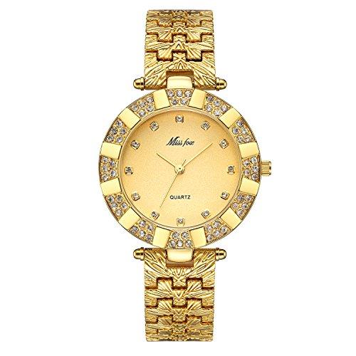 Damen Uhren Casual Fashion Slim Wasserdicht Uhren Diamant Strass Gold Edelstahl Quarz Armbanduhr