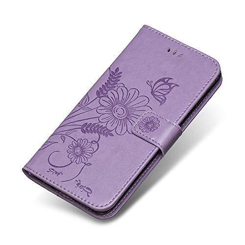 Galaxy S6 Hülle, The Grafu® PU Leder Hülle, Schmetterling Blumen Muster Standfunktion Schutzhülle Handyhülle für Samsung Galaxy S6, Hellviolett Et Samsung Consumer Electronics