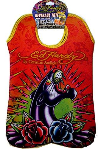 Ed Hardy designs von Christian Audigier Neopren 2Flasche Wein Getränke Tote (Tattoo Black Panther)
